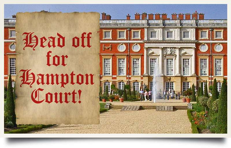 Postcard of Hampton Court Palace with caption 'Head off for Hampton Court'.