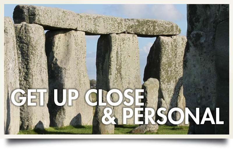Postcard of stonehenge with caption 'Get up close & personal'.