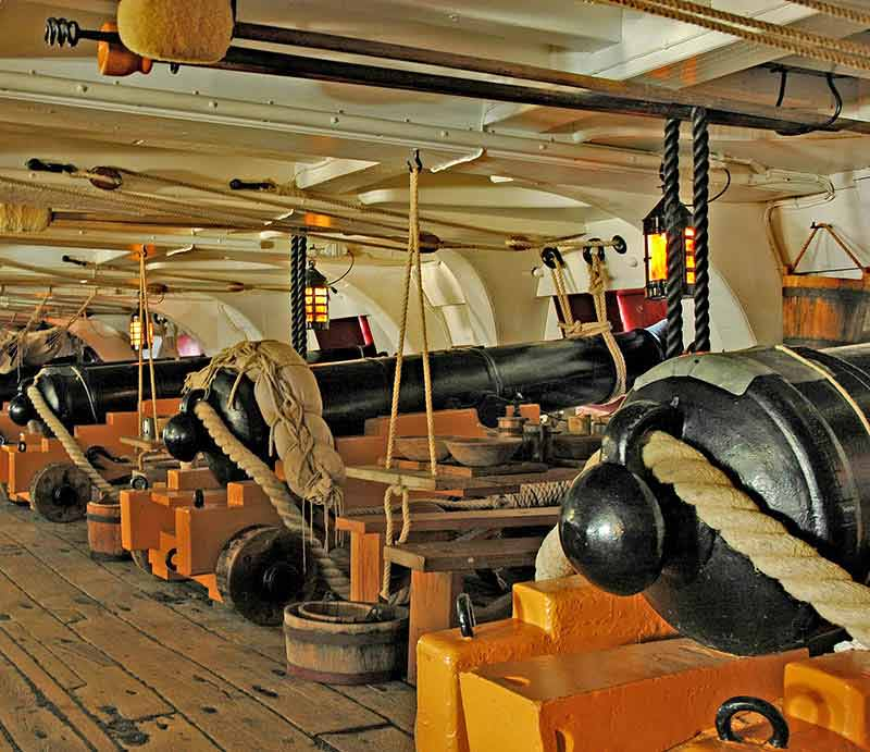 Row of cannons on board Nelson's ship HMS Victory..
