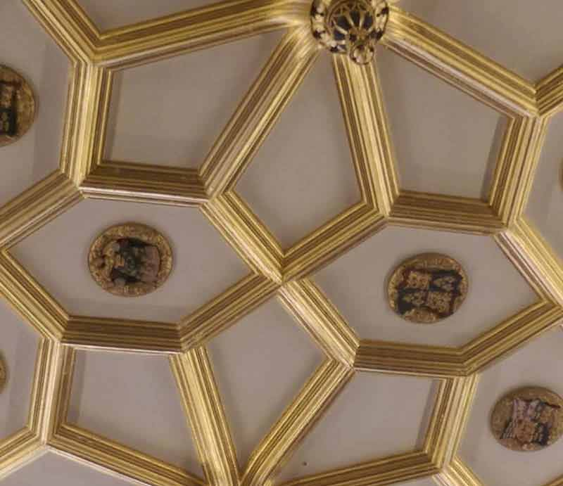 Ornate ceiling in Hampton Court Palace