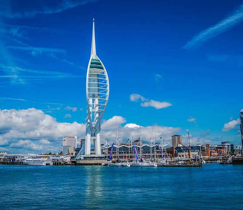 Spinnaker Tower seen from Portsmouth Harbour entrance.